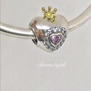 Authentic Pandora princess heart charm pink